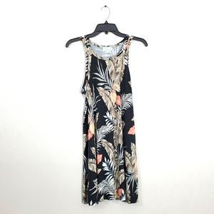 Veronica M Floral Feathers Print Tank Top